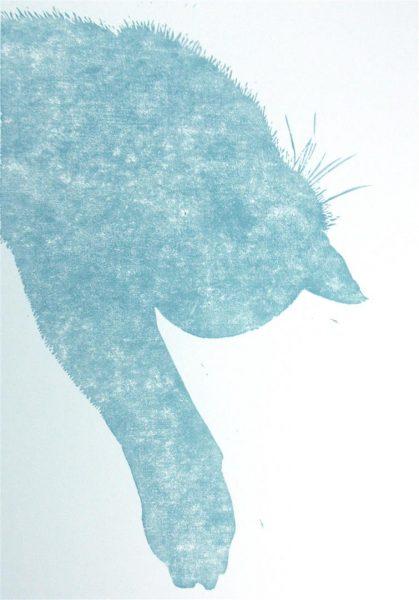 Silhouette Katze hellblau
