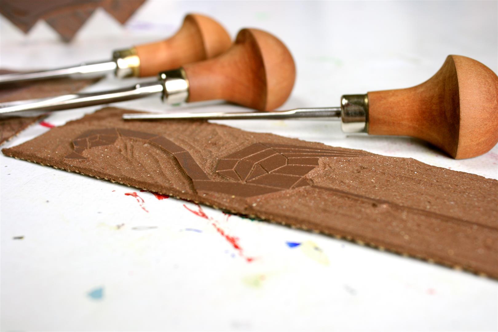 Linolschnitt von Nadeshda Horte