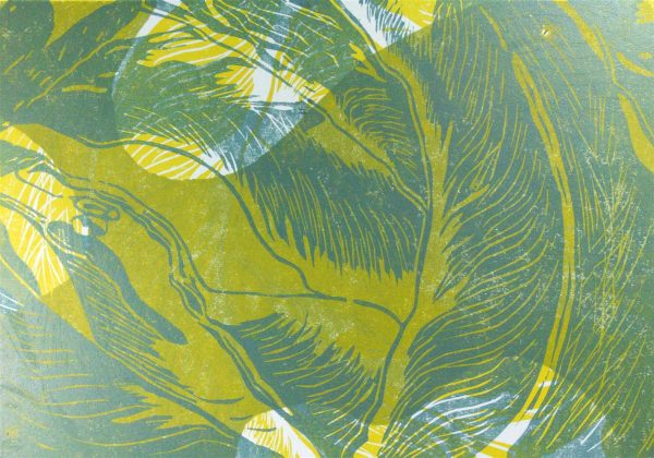 Positiv - Holzschnitt in Grün, Gelb, Gold