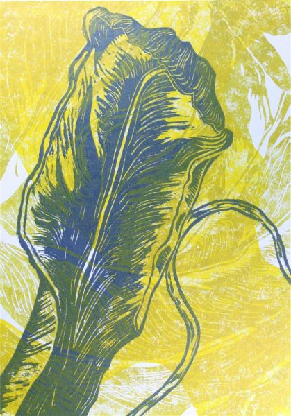 Positiv - Holzschnitt in Gelb, Gold und Anthrazit