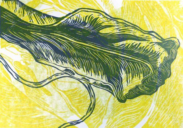 Positiv - Holzschnitt von Nadeshda Horte in Gelb