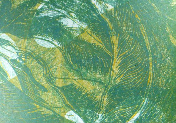 Holzschnitt in grüntönen